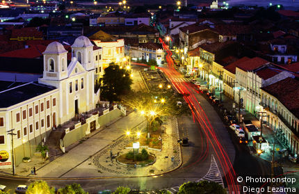 Historic centre of town at night.