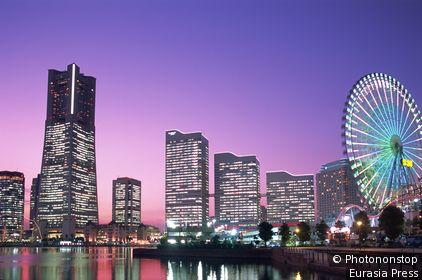 Japan,Honshu,Yokohama,Yokohama Pier,Night View of Minatomira