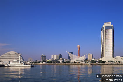 Japan,Honshu,Kobe,Harbourland Area Skyline