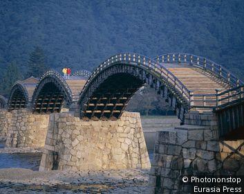 Japan, Honshu, Iwakuni, Brocade Sash Bridge (Kintaikyo Bridge)
