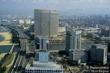 Japon, Kyushu, Fukuoka, Momochi, vue aérienne
