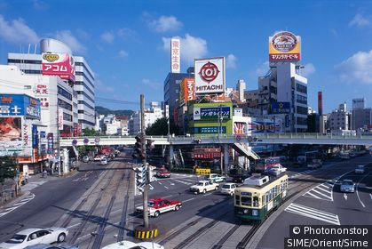 Japan / Kyushu / Nagasaki / Streets at the main train station
