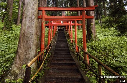 Red Tori gates at entrance to Chusonji Shrine at Hiraizumi in Japan