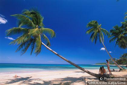 République Dominicaine, Samana, Las Ballenas, touristes sur plage de sable blanc, palmiers, ciel bleu