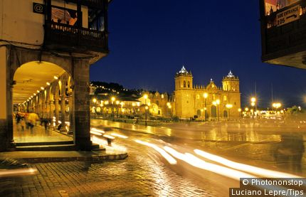 South America, Peru, Lima Plaza de Armas at night