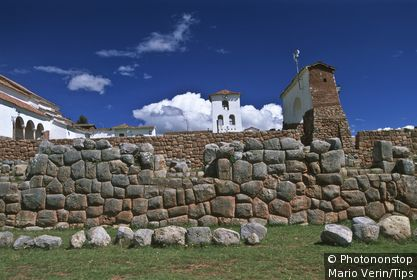 Peru, Chinchero: the colonial Church and Inca walls