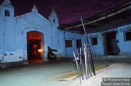 Peru, Lambayeque, Tucume, altar and church