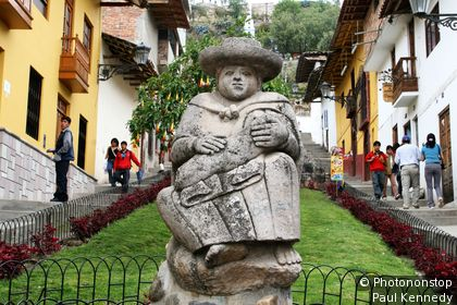 Statue on the walkway up to Santa Apolonia Hill. Cajamarca, Cajamarca, Peru