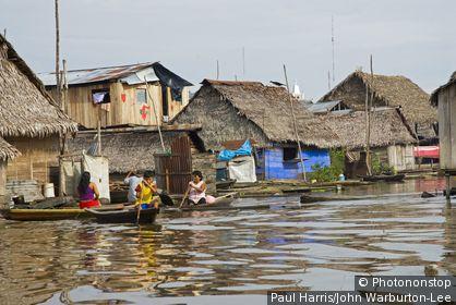 Amazon, Peru. Peru, Amazon, Amazon River. The floating village of Belen, Iquitos.