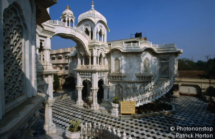 White marbled splendour of the ISKCON temple in Vrindavan. The city is home to the Hare Krishnas as Krishna was born in the nearby town of Mathura.