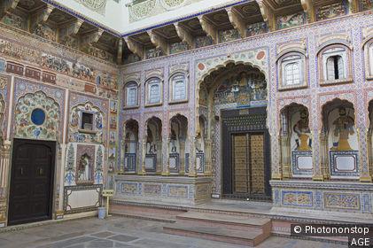 Inde, Rajasthan, Shekhawati, Nawalgarh, Podar school Haveli