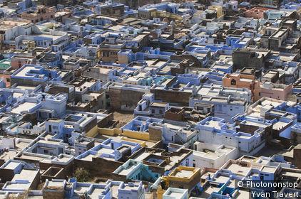 Inde, Rajasthan, Bundi, terrasses des maisons dans la vieille ville