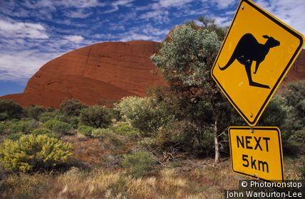 Australia;Northern Territory;Alice Springs - Traffic sign warning of kangaroos beside a road through the Outback, with red rocks of The Olgas behind