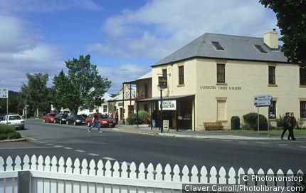 Street scene in historic Richmond, Tasmania, Australia