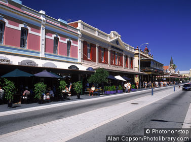 Shops & cafes on South Terrace, Fremantle, WA, Australia