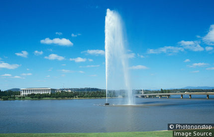 Water jet in lake burley griffin canberra
