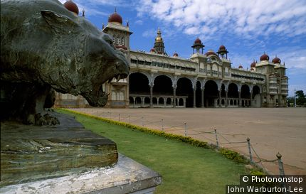 India;Karnataka Province;Mysore - The Maharaja's Palace, designed in the hybrid Indo-Saracenic style by Henry Irwin, the British consultant architect of Madras State, was completed in 1912 for the 24th Wadiyar Raja. Twelve temples surround the palace