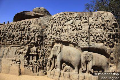 Inde, Tamil Nadu, Mamallapuram, Penance d' Arjuna