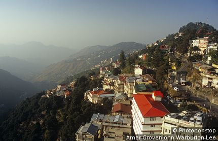 India, Himachal Pradesh, Shimla aka Simla. The Himalayan foothills fall away sharply from Shimla Ridge.