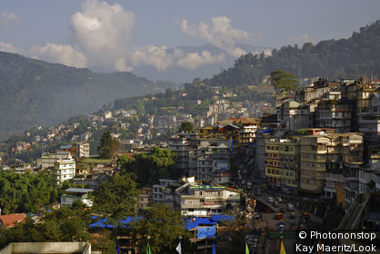 The town of Gangtok in the mountains, Sikkim, Himalaya, Northern India, Asia