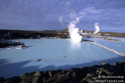 Bathing in Blue Lagoon, Svartsengi Geothermal Plant, Near Grindavik, Iceland