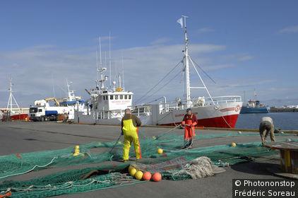 Islande, Hofn (ou Hornafjordur), port de pêche, pêcheurs tirant leurs filets, bateaux en arrière-plan