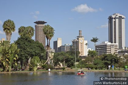 Kenya, Nairobi. Nairobi City skyline from Uhuru Park.