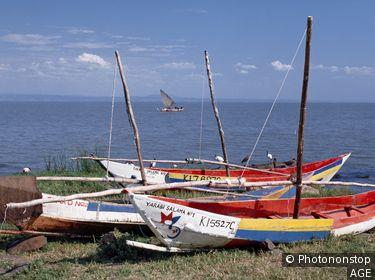 Kenya, Nyanza, Kisumu. Luo fishing boats at Lake Victoria.