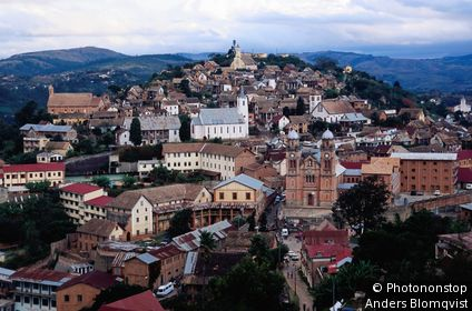 Older quarter of town scattered with churches. Fianarantsoa, Fianarantsoa, Madagascar