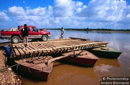 Belo sur Tsiribihina. The only ferry capable of taking vehicles across Tsiribihina river. Miandrivazo, Toliara, Madagascar