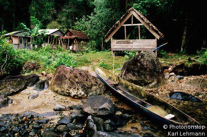 Dugout canoe hauled up outside the research station at Andranobe. Masoala National Park, Toamasina, Madagascar