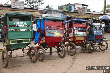 Pouse pouse, Calles de Manakara, Manakara, Fianarantsoa, Madagascar