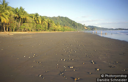 Costa Rica, Côte Pacifique, plage de Dominical, groupe de gens au fond