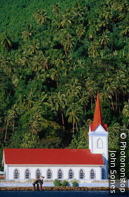The red-roofed church of Tiva in Rurutu.