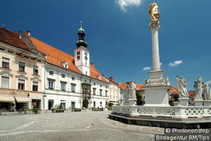 town hall and pestilence pillar Glavni trg in the old town of Maribor Slovenia