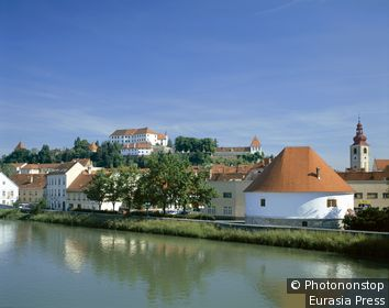 Slovenia, Stajerska, Ptuj, Town Skyline & Drava River