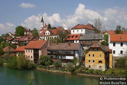 Slovenia, Novo Mesto, Krka River, Chapter Church of St Nicolas.