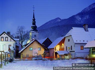 Kranjska Gora,square and church. Slovénie