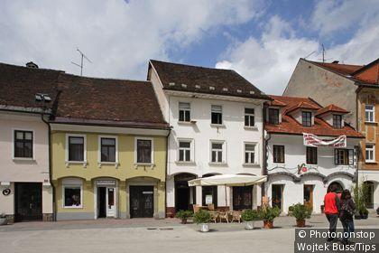 Slovenia, Kranj, Preseren Street, Old town Houses.