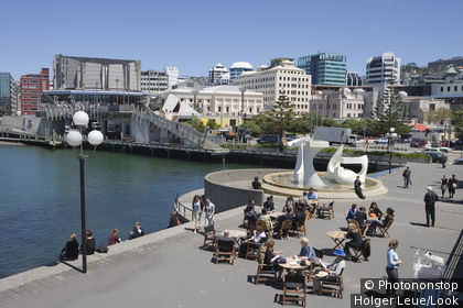 Outdoor Cafe and Michael Fowler Centre, Wellington, North Island, New Zealand