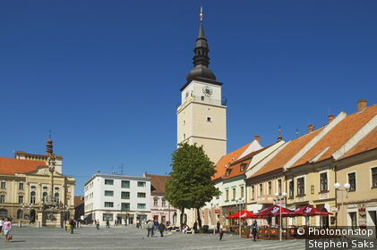 Slovakia, Eastern Europe, Trnava, Municipal Tower in the main square, Trojicne namestie.