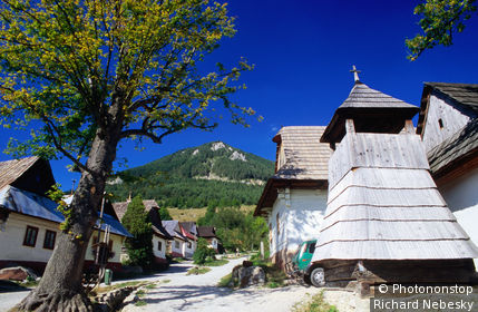 Village of Vlkolinec, bell tower with street of preserved traditional village houses, a UNESCO World Heritage listed site