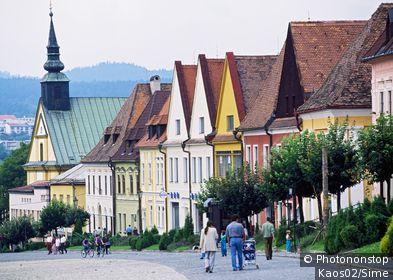 Slovaquie, Presovský, Bardejov - Radnicne Namestie, typical houses