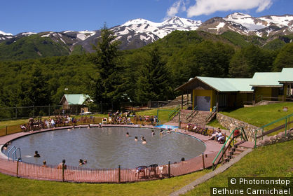 Chile, Biobio, Chillan, People soaking in hotsprings of Termas de Chillan.