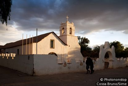 Chili, Antofagasta, San Pedro de Atacama, Désert d'Atacama - The Church of San Pedro, declared a National Monument in 1951, it is considered to be one of the largest and most beautiful churches in the region It was built in 1745