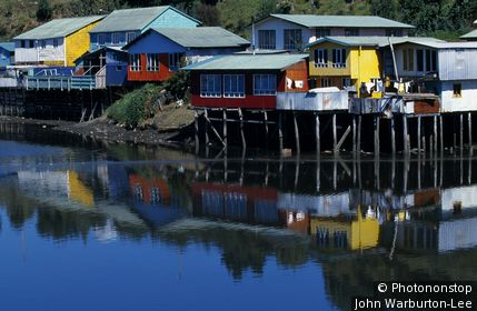 Chile;Chiloe Island.;Castro. - Palafitos (houses on stilts)