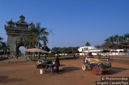 Laos, Vientiane. Patouxai Arch