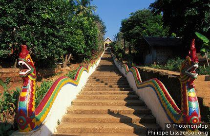 Laos, Huay Xai, Pagoda staircase in Huay Xai