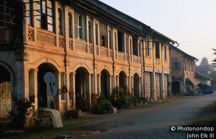 French colonial architecture in Si Muang. Savannakhet, Savannakhet, Laos