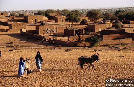 Touareg woman with child and donkeys. Gao, Gao, Mali
